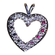 REDUCED Vintage 14 Kt White Gold Heart Pendant with Red White and Blue Stones