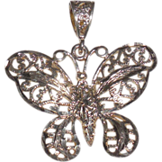 Vintage Sterling Filigree Butterfly Pendant