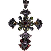 Mod Sterling Cross with Semi-Precious Stones