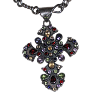 Modernist Sterling Cross with Semi-Precious Stones