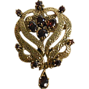 14 K Yellow Gold Pin/Pendant Brooch with Rubellite Tourmalines
