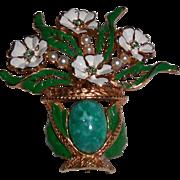 Vintage Kramer Flower Vase Pot Glass Faux Pearl Enamel Brooch Pin