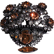 Austrian Crystal Bowl of Flowers Pin Brooch