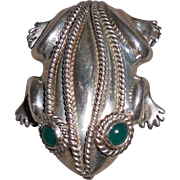 Vintage Mexican Sterling Silver Frog Pin with Green Onyx Eyes