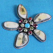 REDUCED Sterling Pin/Pendant with Ceramic and Semi Precious Gemstones