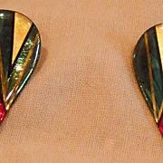 Multi Colored Metallic Art Graphic Pierced Earrings by John Crutchfield.