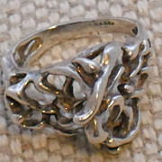 Vintage Modernist Sterling Ring with Openwork Made in Israel