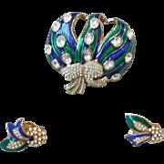 Vintage Ciner Demi-Parure Blue and Green Enamel Brooch Pin Earrings with Pave Rhinestones