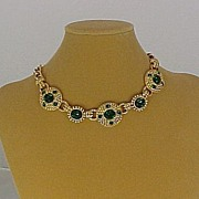 Swarovski Vintage Gold Plated Faux Emerald Necklace.