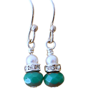 REDUCED Petite Dangle Turquoise Glass and Swarovski Pearl Earrings