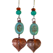 SOLD Long Bohemian Style Turquoise And Copper Feather Earrings