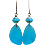 REDUCED Pacific Blue Recycled Glass Earrings