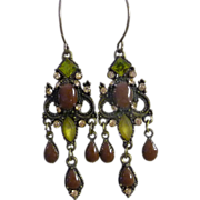REDUCED Vintage Rhinestone Carol Duplaise Chandelier Earrings
