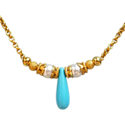 REDUCED Turquoise And Swarovski Pearl 18k Gold Vermeil Necklace