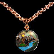 REDUCED Moon River Copper Enamel Pendant Necklace