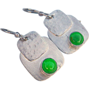 REDUCED Green Turquoise Sterling Silver Earrings
