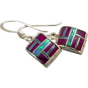 SOLD Purple Sugilite And Opal Sterling Silver Inlay Earrings - Red Tag Sale Item
