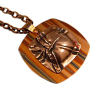 REDUCED Fold Formed And Pressed Copper Pendant Necklace