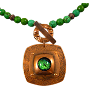 REDUCED Chrysoprase Necklace With Copper And Dichroic Glass Pendant