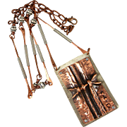 SALE Fold Formed Copper And Silver Pendant Necklace