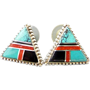 Vintage Sterling Silver Inlay Triangle Earrings