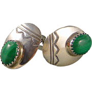 Vintage Sterling Silver And Malachite Stamped Clip On Earrings