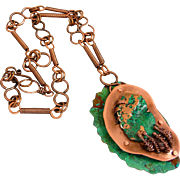 Copper Patina Sculptured Copper Pendant Necklace With Handmade Copper Chain