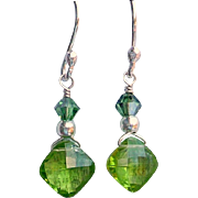 SOLD Faceted Peridot Sterling Silver Earrings - Red Tag Sale Item