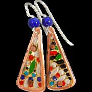 Vintage Tin Lapis Earrings