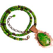 Green Imperial Jasper Necklace with Copper Pendant