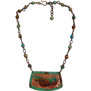 Copper Patina Imperial Jasper Pendant Necklace With Hand wrapped and Jasper Chain