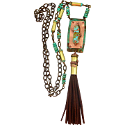 Turquoise Bullet Shell Pendant Necklace With Brown Leather Tassel