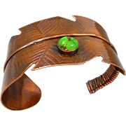 Copper Feather Cuff Bracelet With Green Turquoise Cabochon