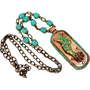 Copper Patina Sculptured Copper Pendant Necklace With Turquoise Howlite Chain