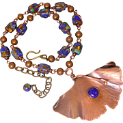 Copper And Lapis Ginkgo Leaf Pendant Necklace