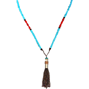 Turquoise Howlite And Red Coral Bullet Shell Casing Necklace With Copper Chain Tassel