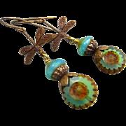 SOLD Dragonfly Czech Glass Earrings