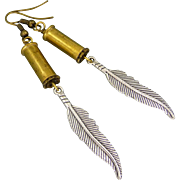 REDUCED Re Purposed Bullet Shell Earrings With Feather Charm