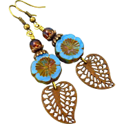Blue Czech Glass Filigree Leaf Dangle Earrings