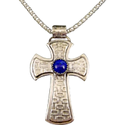 Sterling Silver Cross Pendant With Lapis Cabochon
