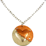 Mixed Metal Heart Pendant Necklace