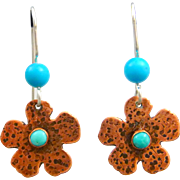 Kingman Turquoise Copper Flower Earrings