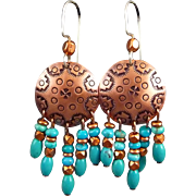 Southwest Hand Stamped Copper And Turquoise Bead Dangle Earrings