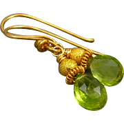 Petite Peridot 18K Gold Vermeil Earrings