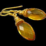 Citrine Quartz Faceted Marquis 18K Gold Vermeil Earrings