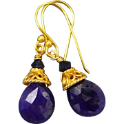 Sapphire Faceted Briolette 18K Gold Vermeil Earrings