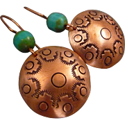 Southwest Hand Stamped Copper Earrings