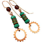 Steampunk Turquoise Czech Glass Earrings