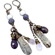 Rustic Cool Blue Water Kyanite Apatite Spectrolite Chalcedony And Freshwater Pearl Earrings