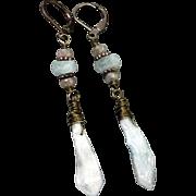 Kyanite And Labradorite Drop Gunmetal Earrings